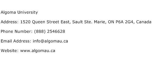 Algoma University Address Contact Number