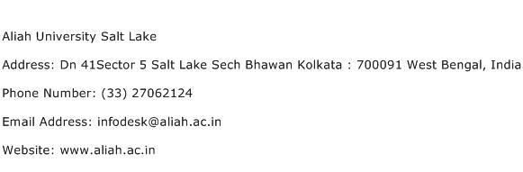 Aliah University Salt Lake Address Contact Number