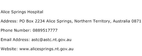 Alice Springs Hospital Address Contact Number