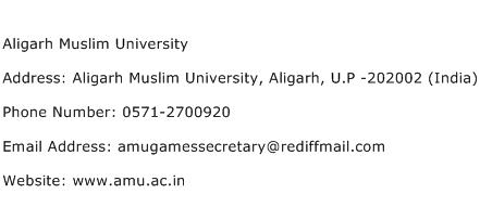 Aligarh Muslim University Address Contact Number