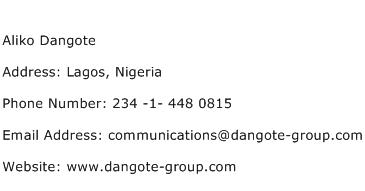 Aliko Dangote Address Contact Number