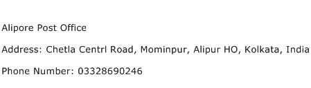 Alipore Post Office Address Contact Number