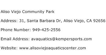 Aliso Viejo Community Park Address Contact Number