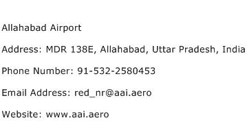 Allahabad Airport Address Contact Number