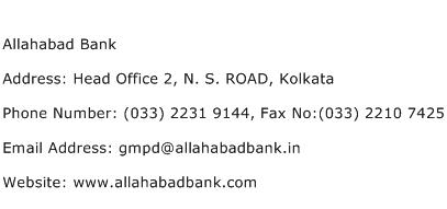 Allahabad Bank Address Contact Number
