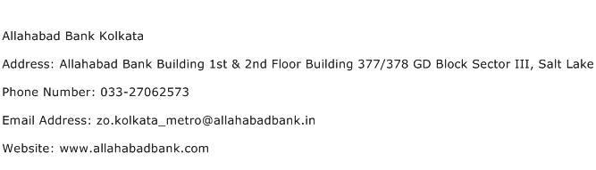 Allahabad Bank Kolkata Address Contact Number
