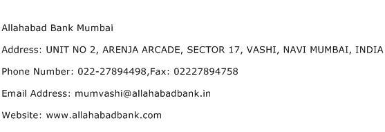 Allahabad Bank Mumbai Address Contact Number