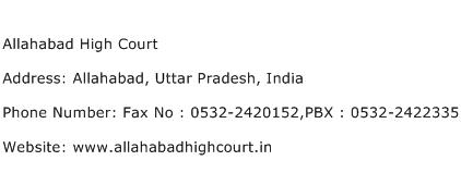 Allahabad High Court Address Contact Number