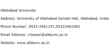 Allahabad University Address Contact Number
