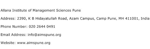 Allana Institute of Management Sciences Pune Address Contact Number