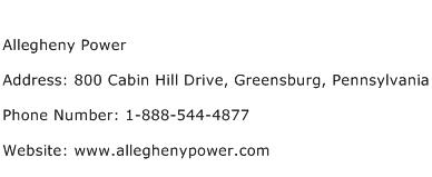 Allegheny Power Address Contact Number