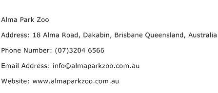 Alma Park Zoo Address Contact Number