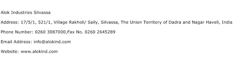 Alok Industries Silvassa Address Contact Number