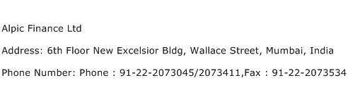 Alpic Finance Ltd Address Contact Number