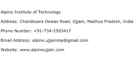 Alpine Institute of Technology Address Contact Number