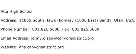 Alta High School Address Contact Number