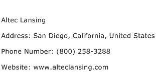 Altec Lansing Address Contact Number