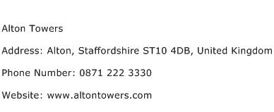 Alton Towers Address Contact Number