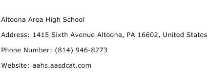 Altoona Area High School Address Contact Number