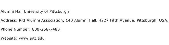 Alumni Hall University of Pittsburgh Address Contact Number