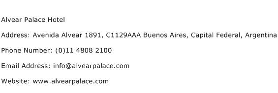 Alvear Palace Hotel Address Contact Number