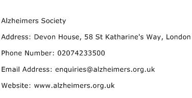 Alzheimers Society Address Contact Number