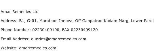 Amar Remedies Ltd Address Contact Number