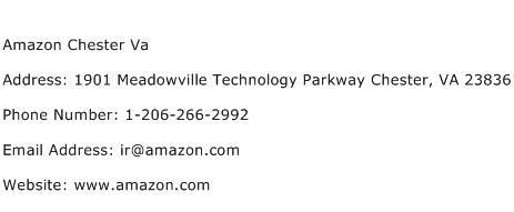 Amazon Chester Va Address Contact Number