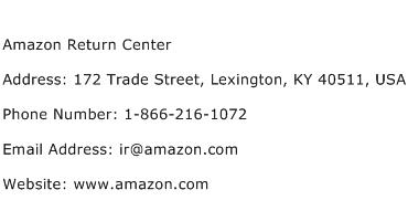 Amazon Return Center Address Contact Number