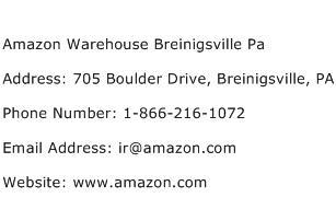 Amazon Warehouse Breinigsville Pa Address Contact Number