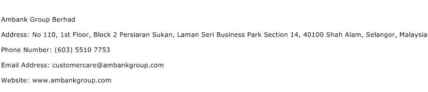 Ambank Group Berhad Address Contact Number