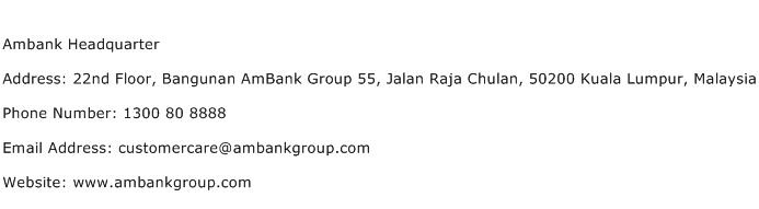 Ambank Headquarter Address Contact Number