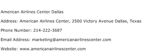 American Airlines Center Dallas Address Contact Number