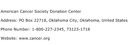 American Cancer Society Donation Center Address Contact Number