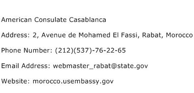 American Consulate Casablanca Address Contact Number