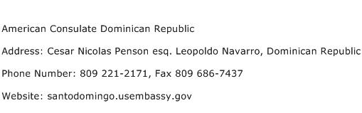 American Consulate Dominican Republic Address Contact Number