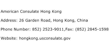 American Consulate Hong Kong Address Contact Number