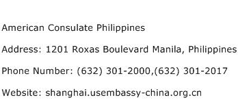 American Consulate Philippines Address Contact Number