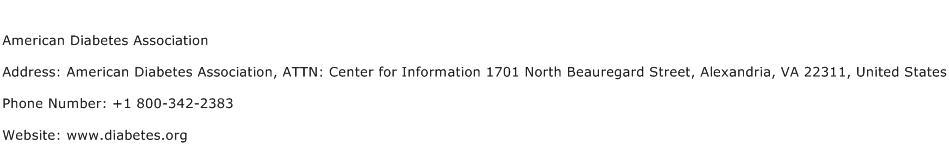 American Diabetes Association Address Contact Number