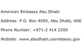 American Embassy Abu Dhabi Address Contact Number