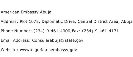 American Embassy Abuja Address Contact Number