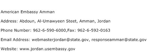 American Embassy Amman Address Contact Number