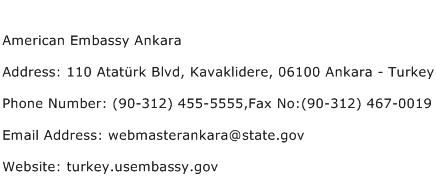 American Embassy Ankara Address Contact Number