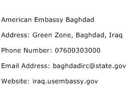 American Embassy Baghdad Address Contact Number