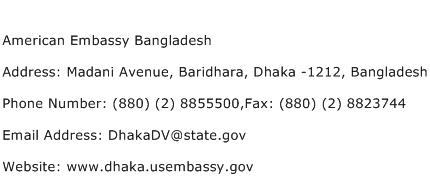 American Embassy Bangladesh Address Contact Number