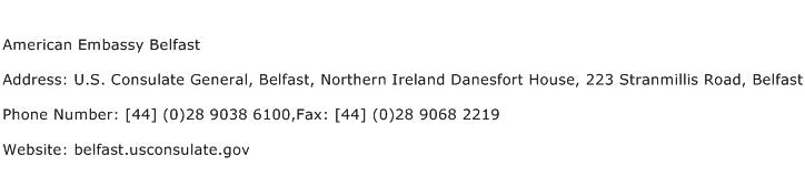 American Embassy Belfast Address Contact Number