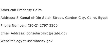 American Embassy Cairo Address Contact Number