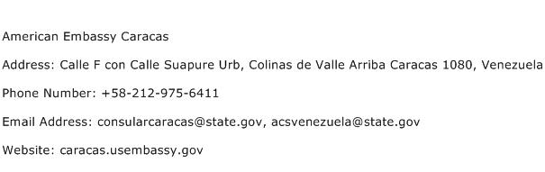 American Embassy Caracas Address Contact Number