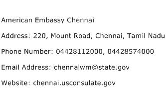 American Embassy Chennai Address Contact Number