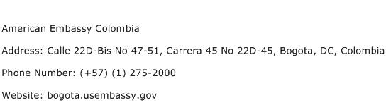 American Embassy Colombia Address Contact Number